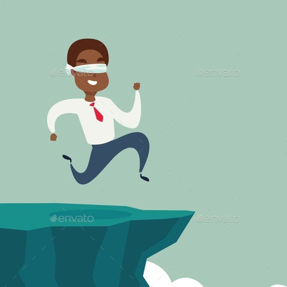 Blindfolded Businessman Runs to Cliff