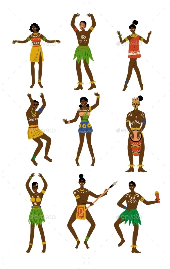 African People Set, Male and Female Aboriginal - People Characters