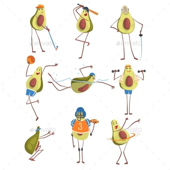 Avocado Cartoon - Sports/Activity Conceptual