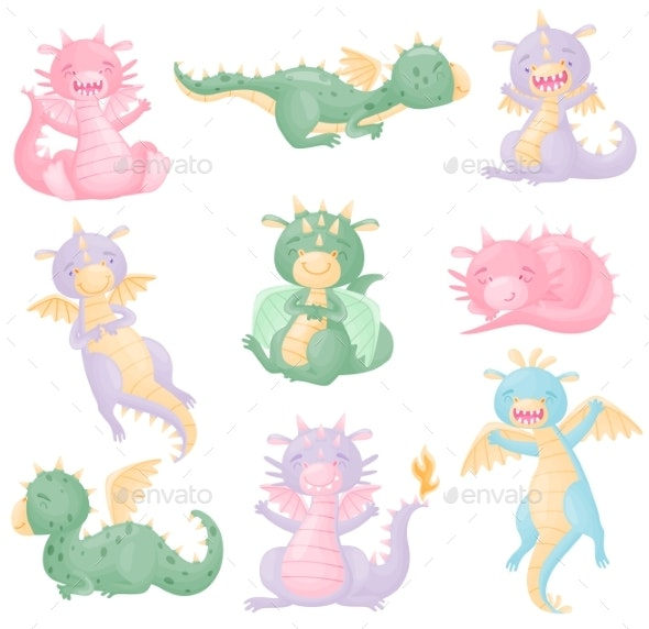 Set of Dragons with Wings - Animals Characters