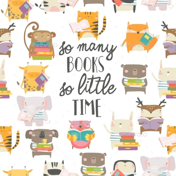 Seamless Pattern with Animals Reading Books - Animals Characters