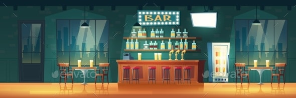 Bar in Evening Metropolis Cartoon Vector Interior - Backgrounds Decorative