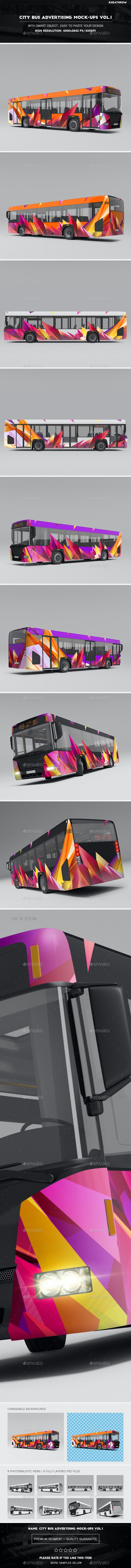 City Bus Advertising Mock-Ups Vol.1 - Product Mock-Ups Graphics