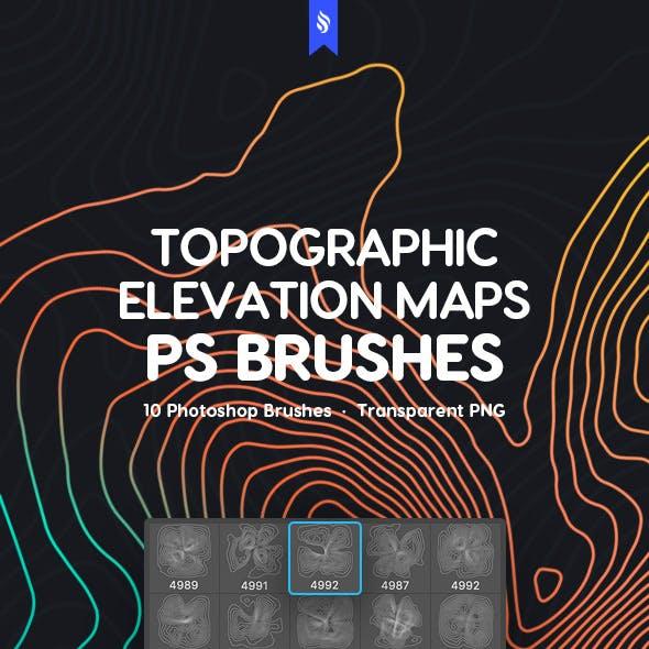 Topographic Elevation Maps Photoshop Brushes