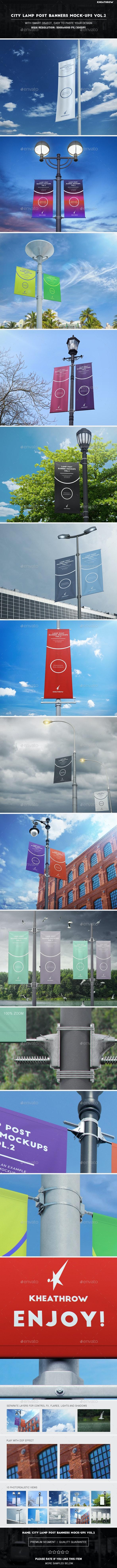 City Lamp Post Banners Mock-Ups Vol.2 - Product Mock-Ups Graphics