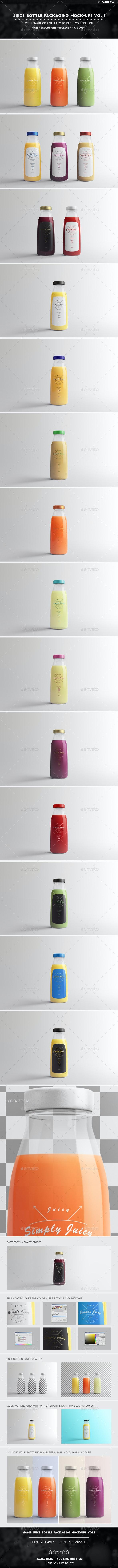 Juice Bottle Packaging Mock-Ups Vol.1 - Food and Drink Packaging