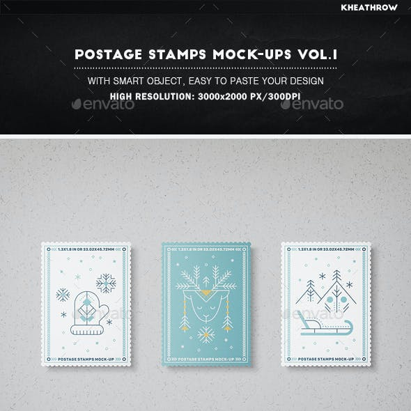 Postage Stamps Mock-Ups Vol.1