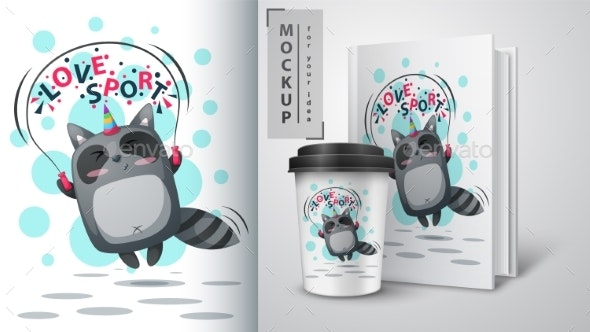 Raccoon Jump - Mockup for Your Idea - Animals Characters
