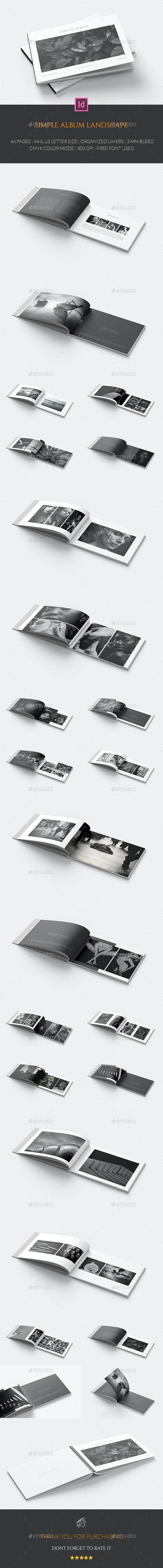Simple Album Landscape - Photo Albums Print Templates