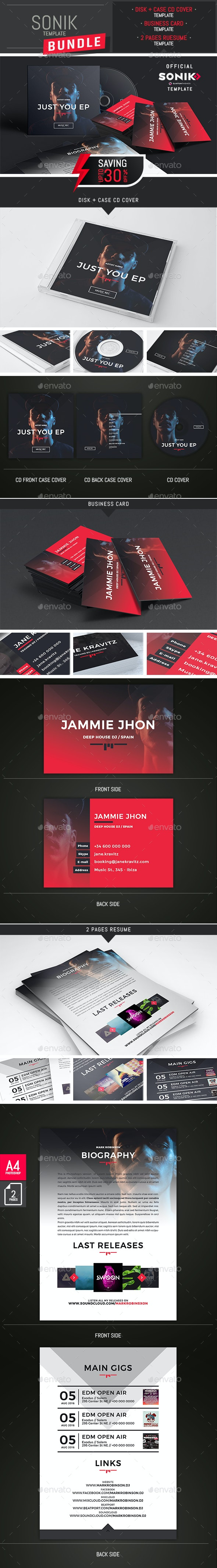 SONIK - Music CD Cover, Business Card and Resume Templates Bundle - Stationery Print Templates