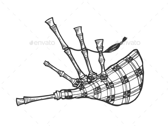 Bagpipes Sketch Engraving Vector Illustration - Miscellaneous Vectors