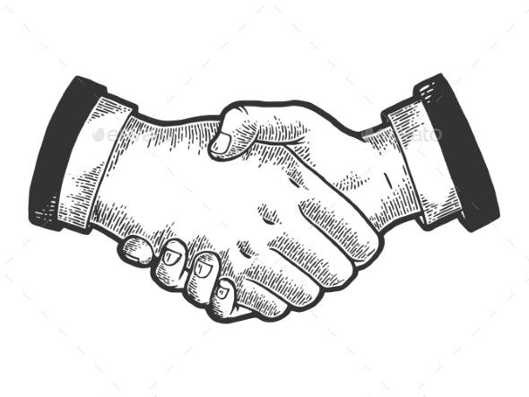 Businessmen Handshake Sketch Engraving Vector - People Characters