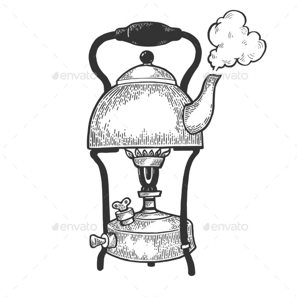 Kettle Pot in Primus Stove Sketch Engraving Vector - Man-made Objects Objects