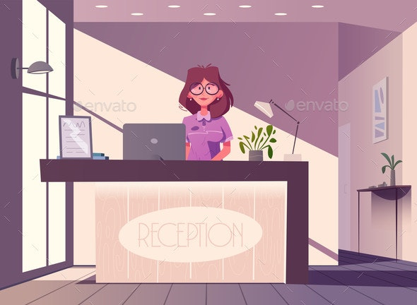 Reception Desk Hotel Receptionist Character - People Characters