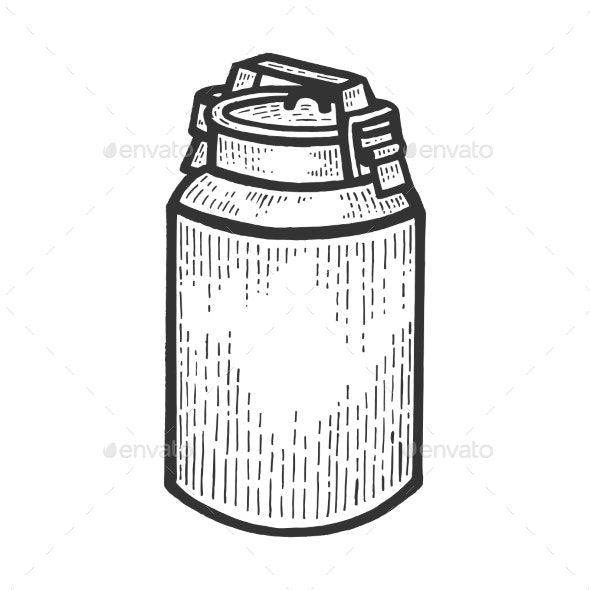 Large Milk Can Sketch Engraving Vector - Man-made Objects Objects
