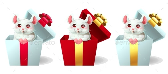 Set of White and Pink Mice in a Box - Animals Characters