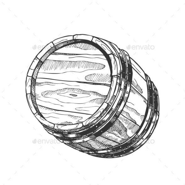 Vintage Hand Drawn Cask Barrel For Liquid Vector - Food Objects