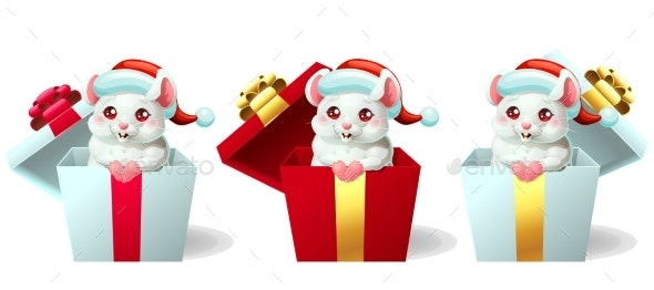 Set of Mice in Hat and Box - New Year Seasons/Holidays