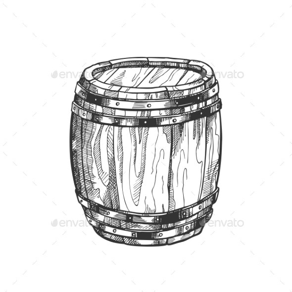 Standing Vintage Wooden Barrel Side View Vector - Food Objects