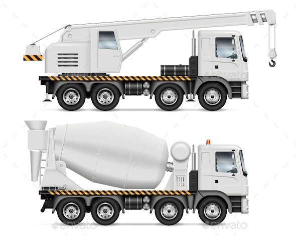Crane and Mixer Trucks - Man-made Objects Objects