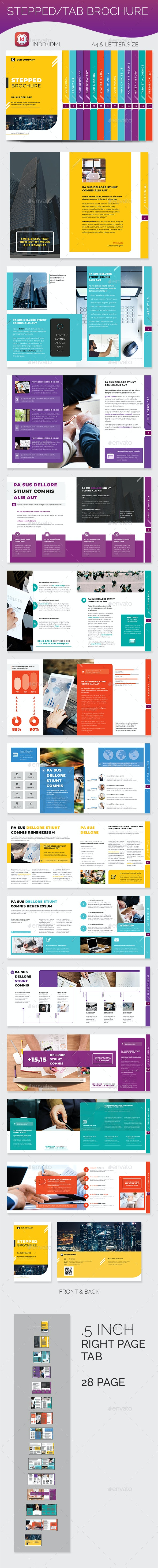 Stepped Tab Brochure - Brochures Print Templates