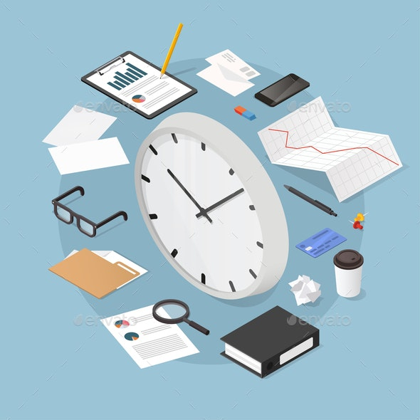 Isometric Time Management Illustration - Concepts Business