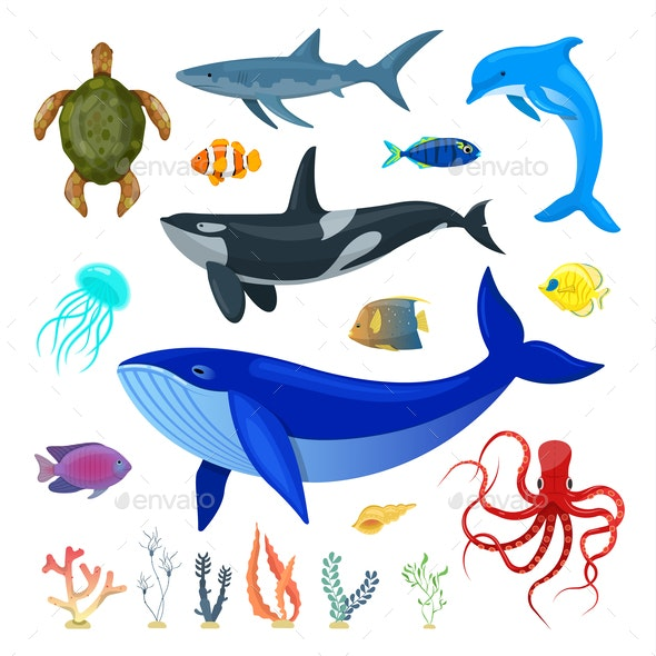 Set of Ocean Animals - Animals Characters