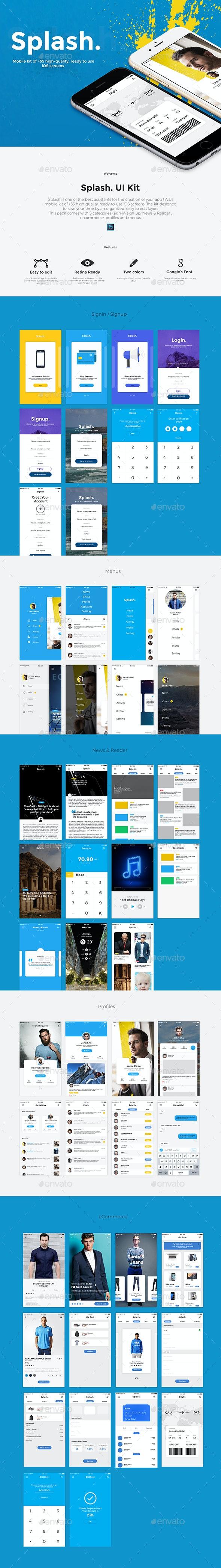 Splash. App UI Kit - User Interfaces Web Elements