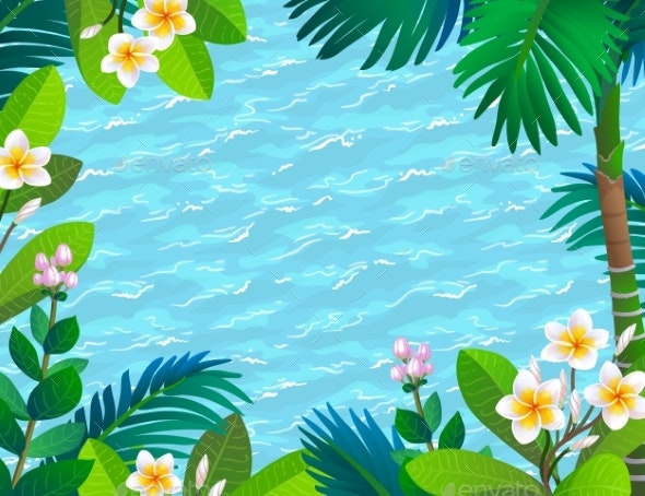 Sea Waves and Blooming Rainforest - Flowers & Plants Nature