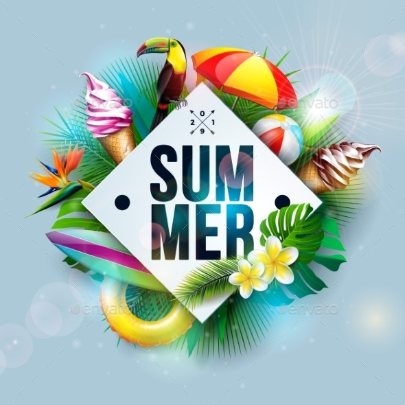 Vector Summer Holiday Illustration - Seasons Nature