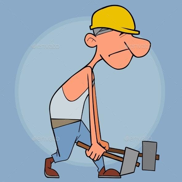 Cartoon Male Builder Carries Heavy Sledge Hammers - People Characters