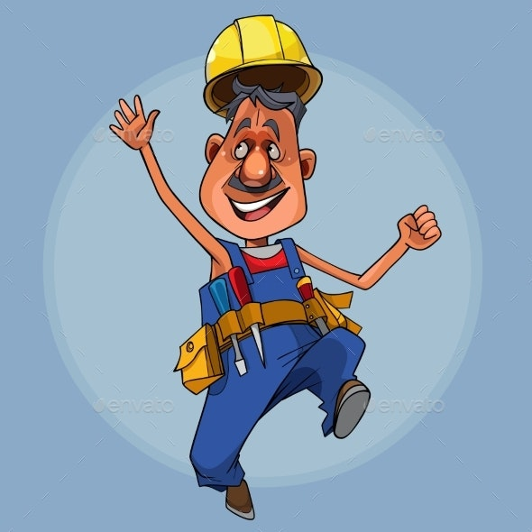 Cartoon Male Construction Worker in a Helmet Jumps - People Characters
