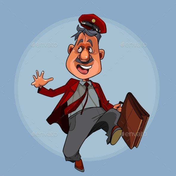 Cartoon Man in a Postman Clothes with a Briefcase - People Characters