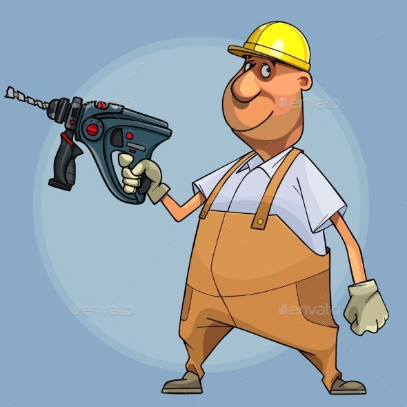 Cartoon Smiling Male Builder in a Helmet Holds Drill - People Characters