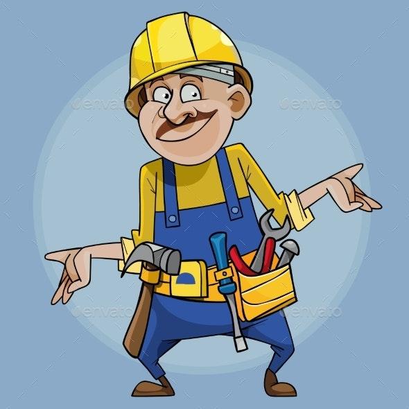 Cartoon Smiling Male Builder in Helmet and Tools - People Characters