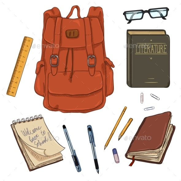 Vector Set of Cartoon Backpack and School Supplies - Miscellaneous Vectors