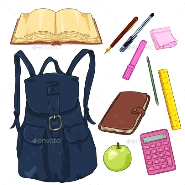 Vector Set of Cartoon Backpack and School Supplies