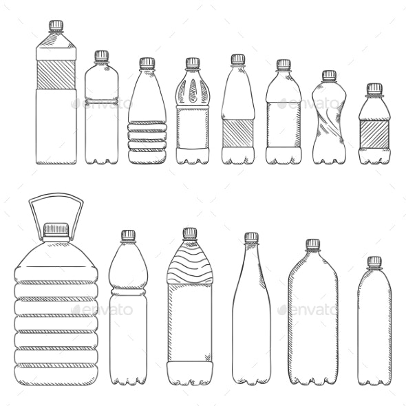 Vector Sketch Set of Plastic Bottles - Man-made Objects Objects