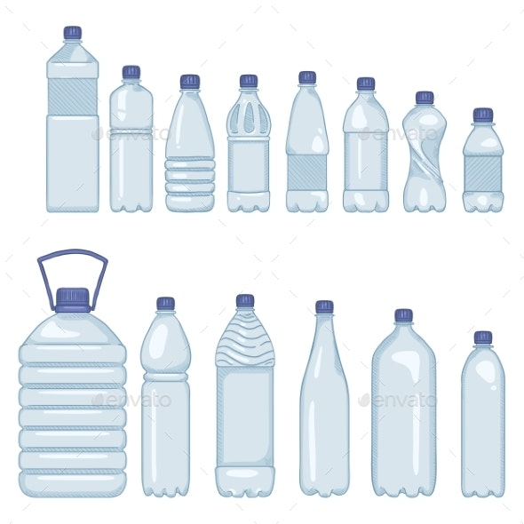 Vector Set of Cartoon Plastic Bottles of Water - Food Objects