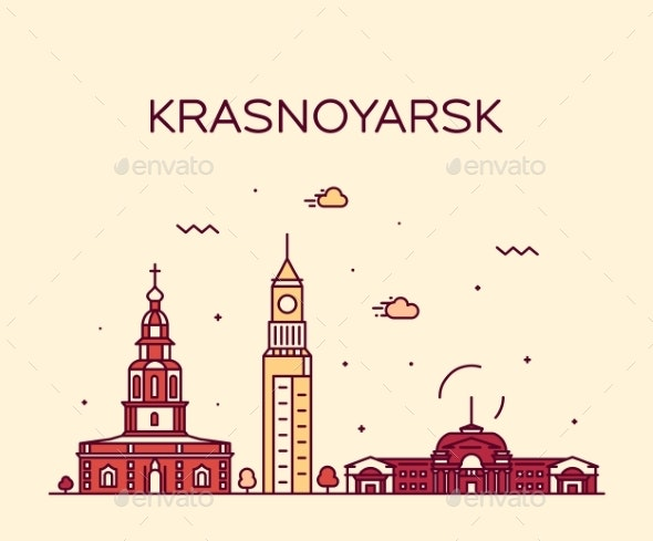 Krasnoyarsk Skyline Krai Russia Vector Line Style - Buildings Objects