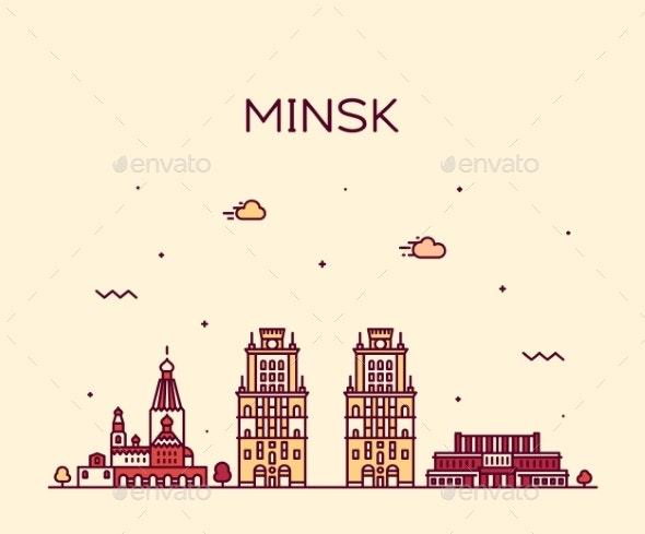 Minsk Skyline Belarus a Vector Illustration Linear - Buildings Objects