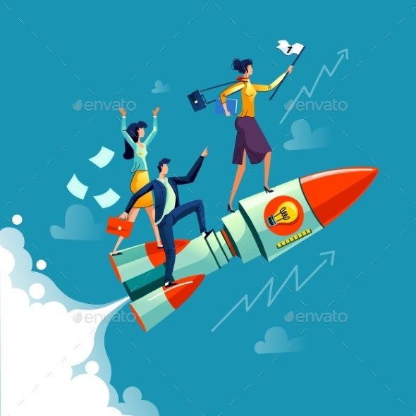 Businesswoman Flying on Rocket Business Concept - Concepts Business