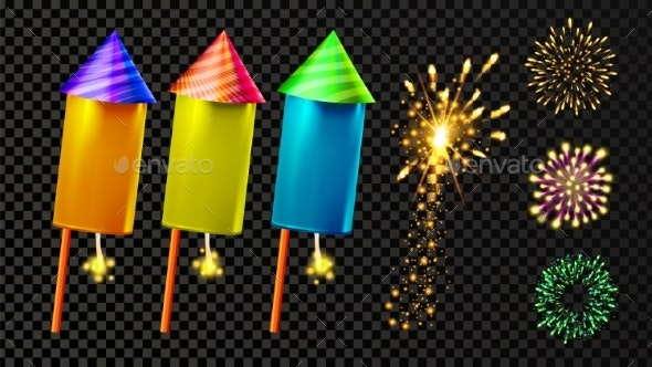 Firecracker and Festive Firework Light Set Vector - Miscellaneous Seasons/Holidays