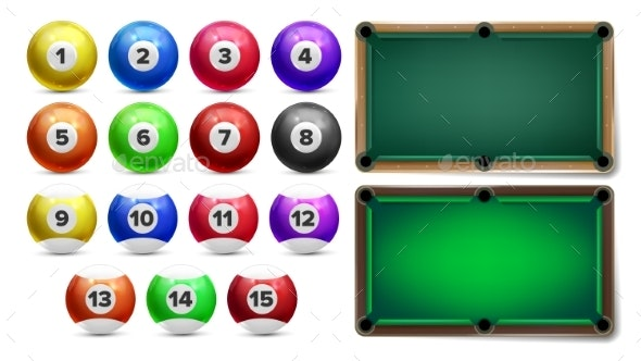 Billiard Balls With Numbers and Table Set Vector - Man-made Objects Objects