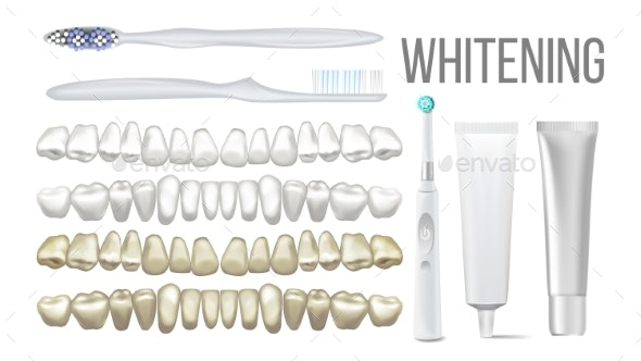 Brush Whitening Clear Teeth Equipment Set Vector - Health/Medicine Conceptual