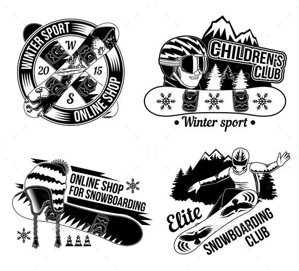 Set of Snowboard Emblems - Sports/Activity Conceptual