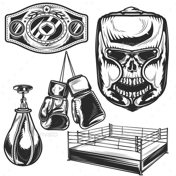 Set of Boxing Elements - Miscellaneous Vectors
