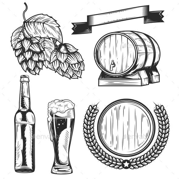 Set of Beer Elements - Miscellaneous Vectors