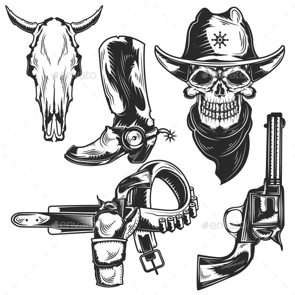 Set of Cowboy Elements - Miscellaneous Vectors