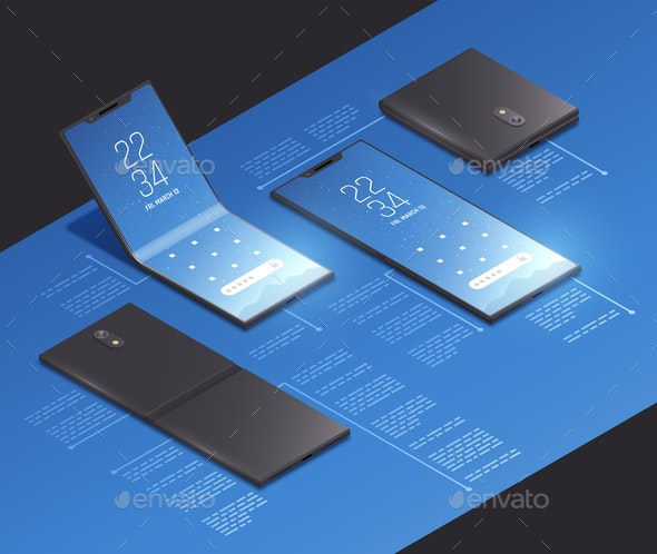 Isometric Foldable Phone Mockup - Computers Technology